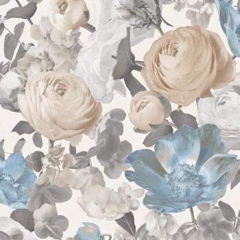 Tapeta Florystyczna Beżowo Biało Niebiesko Szare Kwiaty Rosalinda Sintra 386019 - Sklep z Tapetami na ścianę Tapetydekoracje.pl