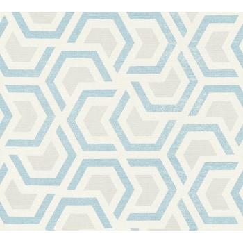 Tapeta Niebieskie Geometryczne Wzory na Kremowym Tle AS-Creation AS367603 - Sklep z Tapetami na ścianę Tapetydekoracje.pl