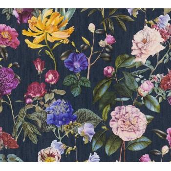 Tapeta Wiosenne Kwiaty na Czarnym Tle AS-Creation AS373364 - Sklep z Tapetami na ścianę Tapetydekoracje.pl