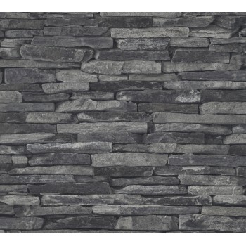 Tapeta Czarny Mur Kamienny AS-Creation AS914224 - Sklep z Tapetami na ścianę Tapetydekoracje.pl
