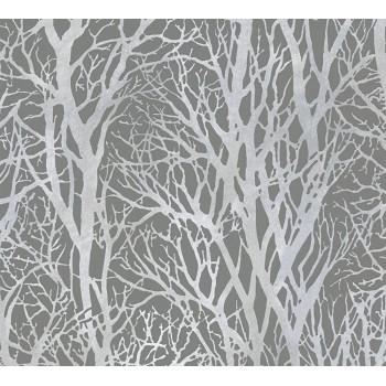Tapeta Srebrne Gałęzie Drzewa na Szarym Tle AS-Creation AS300943 - Sklep z Tapetami na ścianę Tapetydekoracje.pl