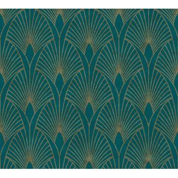 Tapeta Złote Wachlarze na Niebieskim Tle AS-Creation AS374275 - Sklep z Tapetami na ścianę Tapetydekoracje.pl