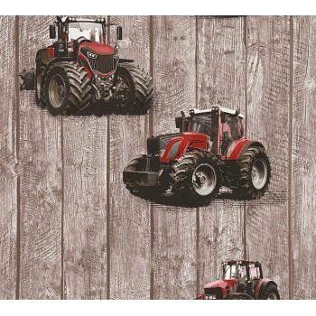 Tapeta Traktory na Brązowych Deskach AS-Creation AS358401 - Sklep z Tapetami na ścianę Tapetydekoracje.pl