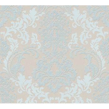 Tapeta Niebieskie Ornamenty na Beżowym Tle AS-Creation AS361662 - Sklep z Tapetami na ścianę Tapetydekoracje.pl