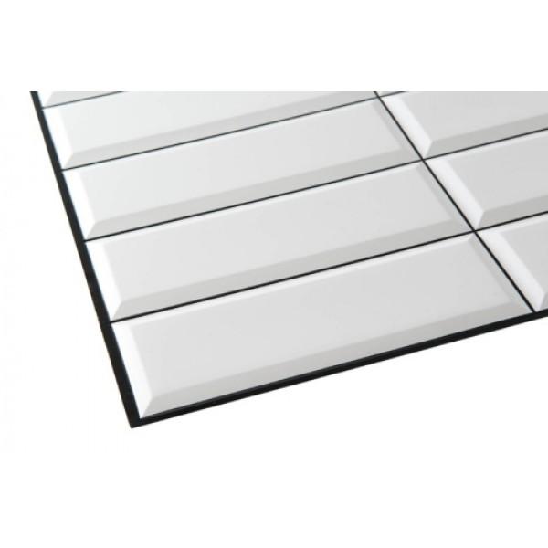 Panele Ścienne PCV 14039 Kafelki Białe z Czarną Fugą (955 x 480 mm) - Sklep z Panelami Ściennymi PCV Tapetydekoracje.pl