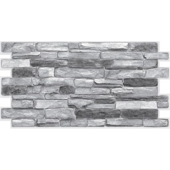 Panele Ścienne PCV 16863 Imitacja Kamienia Łupek Srebrny (980 x 498 mm) - Sklep z Panelami Ściennymi PCV Tapetydekoracje.pl