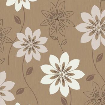 """Tapeta Kwiaty na Brązowym Tle """"Trend Art"""" Sintra 361061 - Sklep z Tapetami na ścianę Tapetydekoracje.pl"""