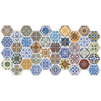 Panele Ścienne PCV 15623 Heksagon Marokko (973 x 492 mm) - Sklep z Panelami Ściennymi PCV Tapetydekoracje.pl