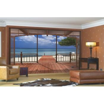 Fototapeta 3D Most nad Plażą Komar 8-101 El Paradiso (388 x 270 cm) - Sklep z Fototapetami na ścianęTapetydekoracje.pl