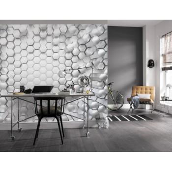 Fototapeta 3D Geometryczne Figury Komar 8-206 Titanium (368 x 254 cm) - Sklep z Fototapetami na ścianęTapetydekoracje.pl